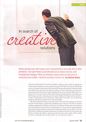first page of article about art therapy